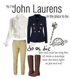 """""""Hamilton: John Laurens"""" by sadiemaeve-mckenna ❤ liked on Polyvore featuring Dsquared2, Vivienne Westwood, Balmain and Frye"""