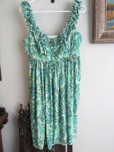 MAGGY LONDON  Green Floral Print Ruffle Strap Neckline Polyester Dress Size 12 #MaggyLondon #EmpireWaist #Cocktail