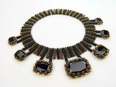 multi-pendant needlewoven collar