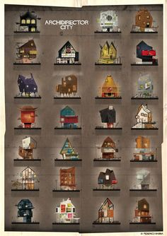 Series of houses based on the film work of notable directors.  Artist: Federico Babina