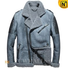 CWMALLS® Designer Shearling Moto Jacket CW858308 - Shop this designer shearling moto jacket for men, it highlights asymmetric zipper design, quilted details, leather epaulets, notched collar and shearling trims at the bottom and cuffs, available in special grey and classic black, try not to miss this awesome shearling moto jacket.