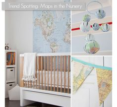 Love the map trend identified by ChicCheapNursery.com.  I have pinned a few map ideas myself. Why not show your baby that there is a big glorious world out there just waiting for them?
