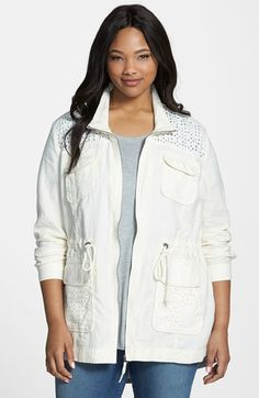 Lucky Brand Eyelet Cotton & Linen Jacket (Plus Size) available at #Nordstrom