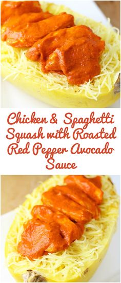 Chicken & Spaghetti Squash With Roasted Red Pepper Avocado Sauce (Gluten-Free, Low-Carb)