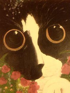 Black and white cat MICUKÓ cat acryl painting by Murokancsa