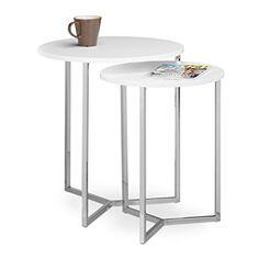 Relaxdays Beistelltisch Rund 2er Set Wohnzimmertische Aus Holz Tischplatte  50 Und 40 Cm Als Couchtisch Und