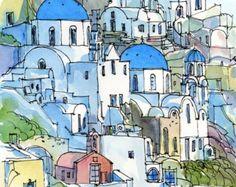 Santorini Oia 2 Griechenland Kunstdruck aus einem original Aquarell