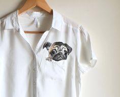 Pug  handpainted shirt  pocket shirt  dog lovers  by Dariacreative, $45.00