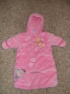 Disney Winnie the Pooh Baby Bunting Snowsuit Carseat Opening Girls 0 - 3 EUC