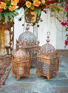 Moroccan Style Lanterns - Style Me Pretty Moroccan Party, Moroccan Theme, Moroccan Lamp, Moroccan Wedding, Moroccan Lanterns, Moroccan Design, Moroccan Style, Wedding Lanterns, Candle Lanterns