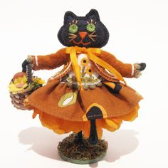 Black Cat Art Doll Autumn Hand Embroidered with by TwoLeftHands, $35.00