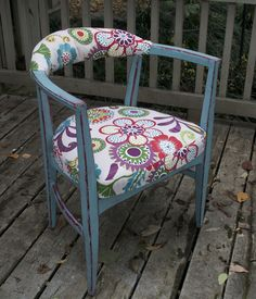 Two color layering with chalk paint to accent fabric colors.