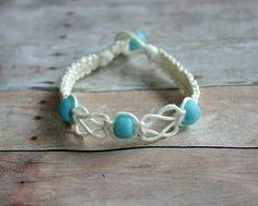 White Flat Knot Hemp Bracelet