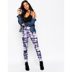 ASOS Leggings in Tie Dye ($27) ❤ liked on Polyvore featuring pants, leggings, multi, high-waisted trousers, asos, tye dye leggings, white high waisted leggings and white pants