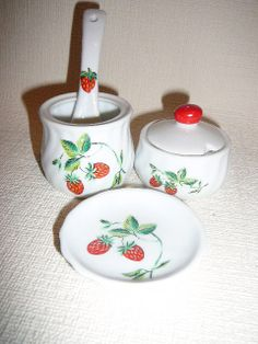 Tableware with Strawberries 3 Piece Table Set by FoxBoxMarket, $12.00