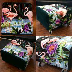 """Pretty Flamingo"" fotpall 52x52x40 cm. Remake med vintage broderi från Frankrike."