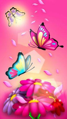 Wallpaper Android - Wallpaper Android Pink Butterfly - Best Mobile Wallpaper - Wallpaper World Butterfly Background, Butterfly Wallpaper, Butterfly Flowers, Love Wallpaper, Galaxy Wallpaper, Cellphone Wallpaper, Mobile Wallpaper, Wallpaper Backgrounds, Flower Art