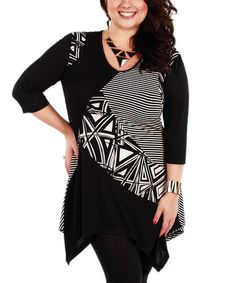 Another great find on #zulily! White & Black Triangle Handkercheif Tunic - Plus by Aster #zulilyfinds