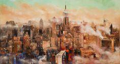 "New York City Skyline by Mitchell Nick | $500 | 60""w x 30""h | Original Art | http://www.vangoart.co/buy/art/new-york-city-skyline @VangoArt"