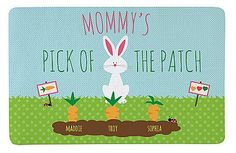 Personalized Pick of the Patch Bunny Carrot Mat: We-Care.com will donate a portion of every purchase through this link to charity!