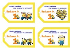 Despicable Me 2 Birthday Personalized Gift Tags  $3.99 available at www.partyexpressinvitations.com