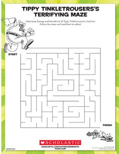 George and Harold need help escaping Tippy Tinkletrousers's clutches! Ask your child to lead them to safety through this maze. Inspired by Dav Pilkey's Captain Underpants series. Beginning Reading, Free Reading, Indoor Activities For Kids, Book Activities, Captain Underpants Series, Writing Worksheets, Kindergarten Worksheets, Award Winning Books, Family Movie Night