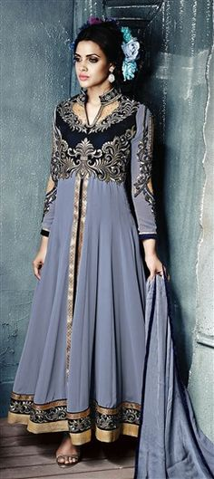 434031 Black and Grey  color family Party Wear Salwar Kameez in Faux Georgette, Net fabric with Machine Embroidery, Moti, Patch, Stone work .