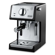 Brew single or double espresso, cappuccino, or lattes with this Delonghi 15 bar pump combination espresso and cappuccino machine.