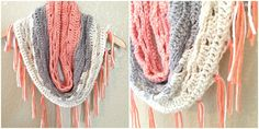 And I have yet another Caron Cake pattern. I can't help myself! I'm obsessed, I tell ya! I made this cowl using Strawberry Trifle. I loved the peachy pink with the creams and grays. I wanted it open, airy and fringe-y. It's not too thick, so it could be worn in the springtime or on cooler summer nights. If those exist… I live in the desert so summer is hot all the time. But I was able to rock this cowl a couple times before we started hitting the high 90s. The 100s are coming soon and once…