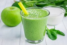 Healthy smoothie with green apple spinach lime and coconut milk