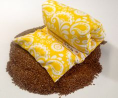 """HEATING PAD - Microwavable FLAX- Mothers day gift - neck wrap- Removable/Washable Heat pad-Hot/Cold pack- Large-Yellow/White - """" FLaX SaK"""""""