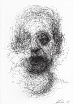 When I think about Adam Riches, I think about nightmares, the shadows, faces obscured and darkness revealed. These are all things Riches evokes, often through t Creepy Sketches, Creepy Drawings, Dark Art Drawings, Art Drawings Sketches, Scary Paintings, Creepy Faces, Scribble Art, Arte Sketchbook, Creepy Art