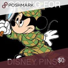 Disney pin If you're looking specifically for any disney pin comment on this listing and I will let you know if I have any that you're looking for! I have tons of Disney pins in my house not posted and I regularly switch them out once other pins are sold! Or if you're just on the hunt for Disney pins tell me which characters you're looking for and I'll show you all I have for that movie and/or character! I ship each package with care and wrapped like a present for you to open! Disney Other