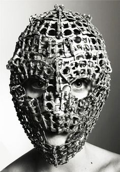 mask from soda pop tabs - Speaks to the Goalie Mother in me :)