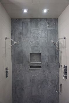 Soapstone And Porcelain Shower.