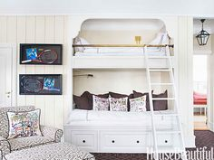 Built-in bunk beds in children's rooms save space.