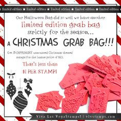 Limited Edition! #vlvstamps #christmas style #grabbags - 15 stamps for $10! from vlvstamps.com - any Christmas themed stamps that Viva Las VegaStamps! produces could be in there! (re-pin to win one!)