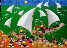 AECIO TEMA DIA DE PESCA A VENDA COM AJUR SP (Painting), 50x70 cm por Arte Naif AJUR SP DIVULGADOR DA ARTE NAIF BRASILEIRA