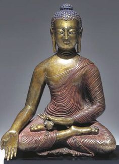 8th-9th century, Kashmir, historical buddha Shakyamuni, cast bronze and pigment, private collection.
