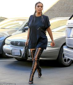 Keeping it casual: The Keeping Up With The Kardashians beauty was rocking a more laid-back look than usual