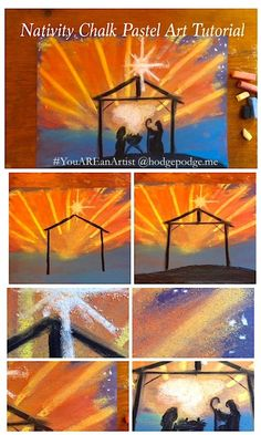 In this nativity chalk pastel art lesson we focus on the scene the night of the birth of Jesus. A colorful scene in chalk pastels!