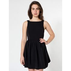 American Apparel Peach Skin Lola Dress ($70) ❤ liked on Polyvore featuring dresses, american apparel, sleeveless flare dress, sleeveless a line dress, black flared dress, ruching dress and flared dress
