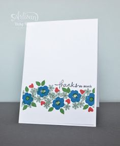 Today... why not stamp a retro border with the fab flowers in Endless Thanks?! - Vicky Hayes