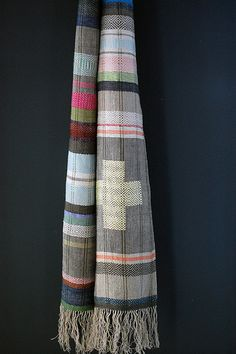 pale sky / + scarf, handwoven hemp and linen