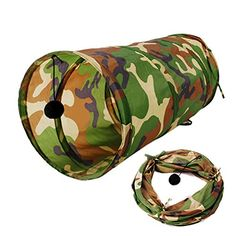 PrettyMeet Pet Cat Fashion Camouflage Printed Tunnels Collapsible Play Tube Tunnel with Ball *** More info could be found at the image url.