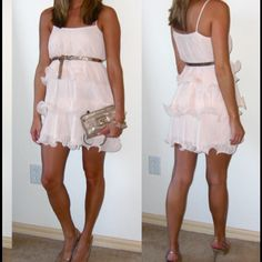 """FIND AT @threebeezhome NWOT pink or blush colored cupcake dress from H&M. I've had this one just staring at me in my closet for so long...making me so sad it's not getting loved!!! It's the cutest thing ever, but I just haven't grabbed it. Someone please take her and love her!!! Adorable floating pleated design. Approx. 31.5"""" long from shoulder to bottom. True to size. Double lined. A thick feeling polyester. Holds shape so nicely! Just the cutest! As seen on bloggers! H&M Dresses Mini"""