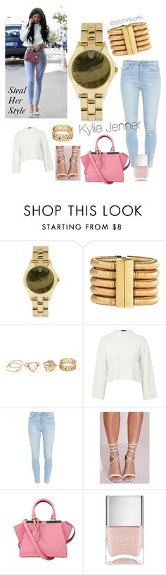 """Steal her Style - Kylie Jenner"" by letsthinkpink ❤ liked on Polyvore featuring Disney, Balmain, Topshop, Paige Denim, Missguided, Fendi and Nails Inc."