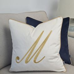Personalized pillow cover,pillowcase with a monogram, cushion cover for her, pillow with a letter,pillow embroidered,pillow with embroidery Decorative Trim, Decorative Pillow Cases, Gold Embroidery, Embroidery Designs, Cushion Covers, Pillow Covers, Letter Pillow, Pipe Decor, Beige Cushions