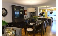 Beautiful black and white kitchen theme is carried to the dining room with a black table Mobile Home Renovations, Remodeling Mobile Homes, Home Remodeling, Double Wide Remodel, Modular Home Manufacturers, Small Space Design, Home Improvement Loans, Kitchen Themes, Modular Homes