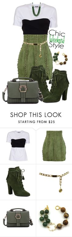"""""""Green Street Style Look"""" by markitahamilton3 ❤ liked on Polyvore featuring MSGM, Balmain, Giuseppe Zanotti, Chanel, GREEN and StreetChic"""